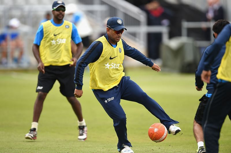 MS Dhoni loves to play football