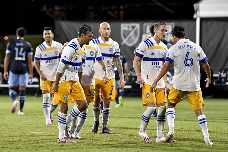 The San Jose Earthquakes players celebrate after pulling off an incredible comeback win over Vancouver