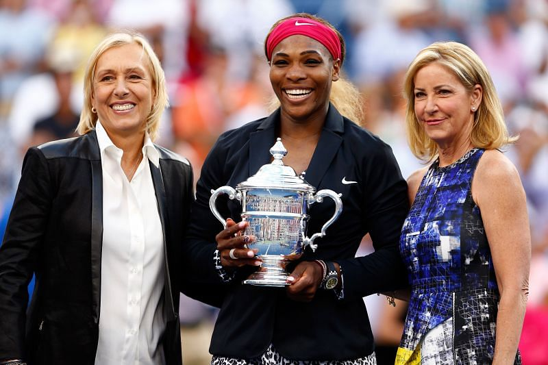 (L-R) Martina Navratilova, Serena Williams and Chris Evert