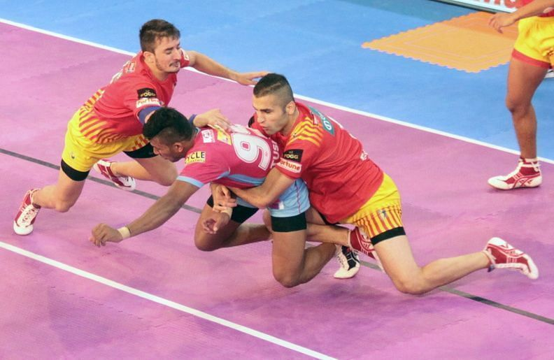 Back Hold is a tackle that is mostly executed by the corner defenders in Kabaddi.