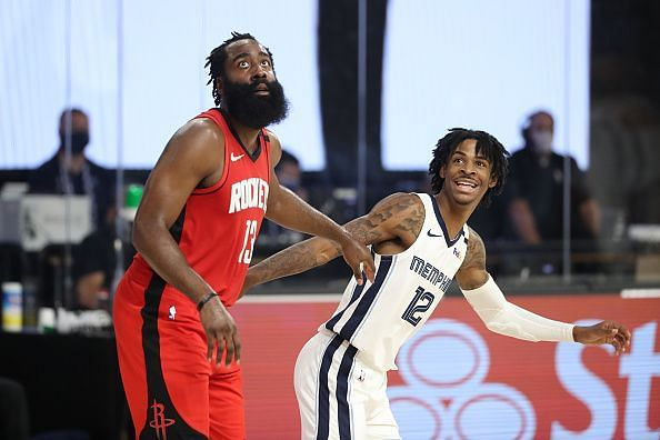 James Harden and Ja Morant in action in yesterday