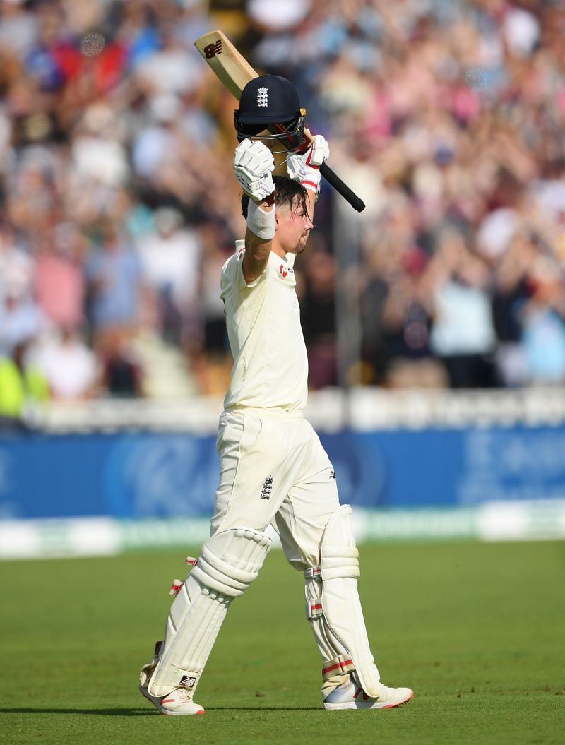 England v Australia - 1st Specsavers Ashes Test: Burns celebrating his maiden ton