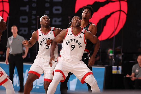 Serge Ibaka contesting for a ball in yesterday