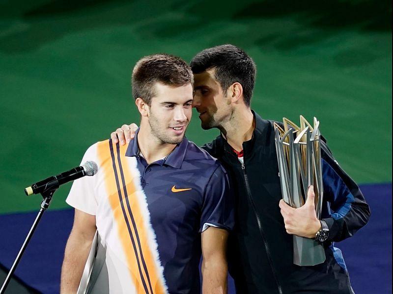 Borna Coric (L) and Novak Djokovic at the 2018 Rolex Shanghai Masters