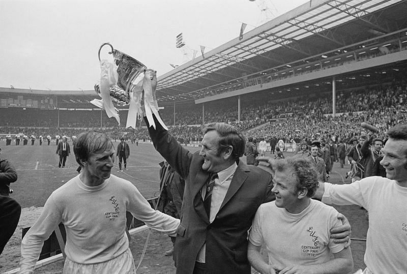 1972 FA Cup Final: Don Revie (centre) celebrates by lifting the FA Cup.