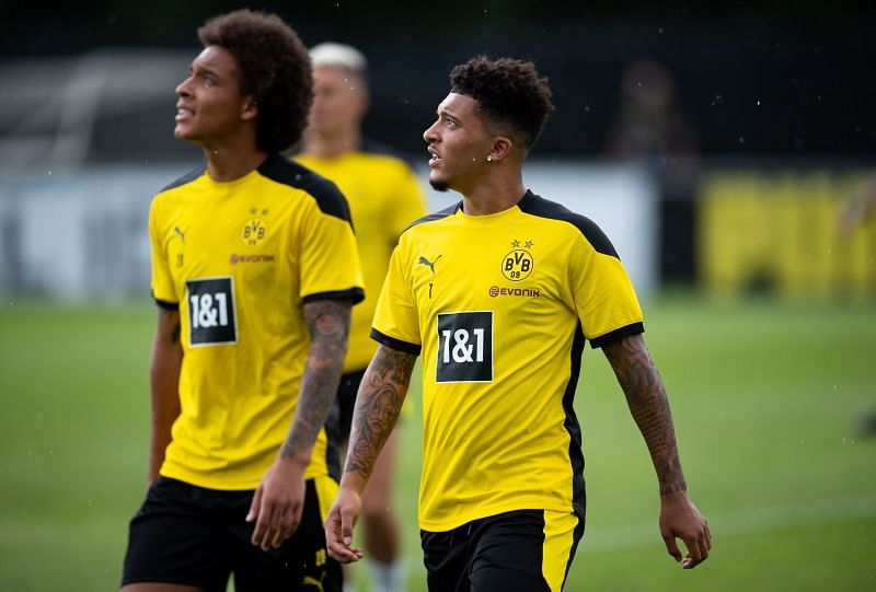 Jadon Sancho (eight) has started pre-season training with Dortmund.