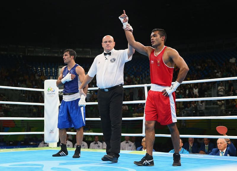 Vikas Krishan Yadav celebrates a win at the Rio Olympics in 2016