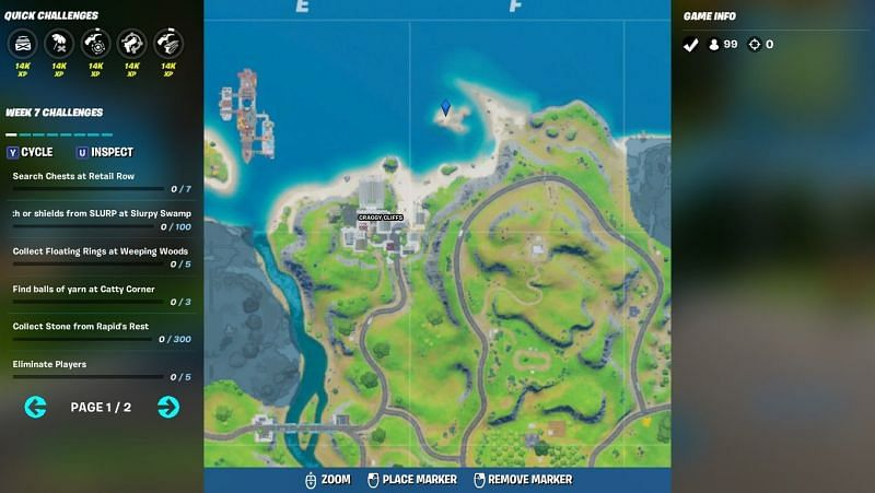 Exact location of the spaceship in Fortnite Season 3