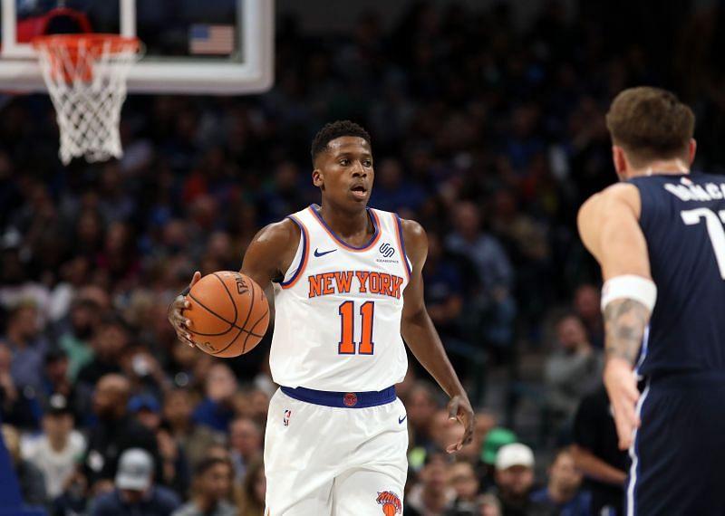 New York Knicks shooting guard Frank Ntilikina in action