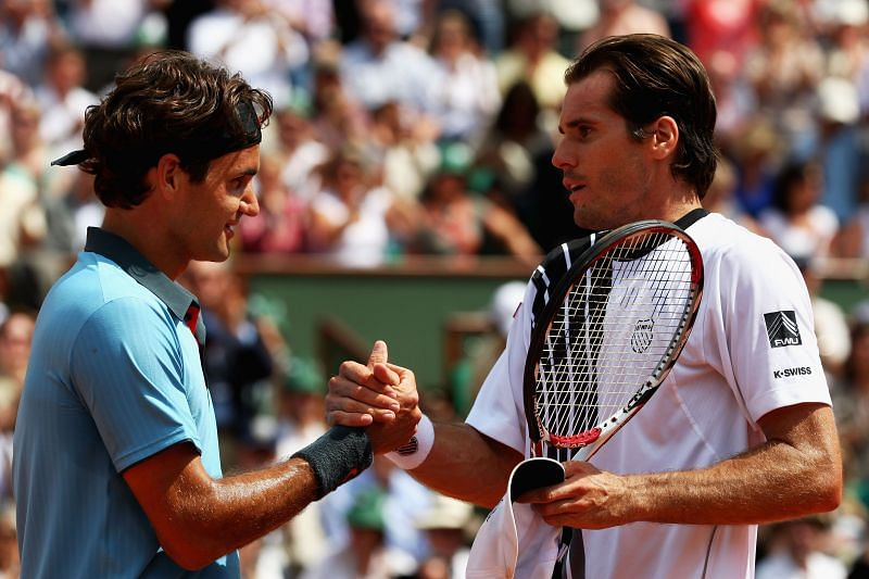 Roger Federer after defeating Tommy Haas