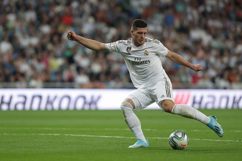 Luka Jovic of Real Madrid CF controls the ball during a La Liga match
