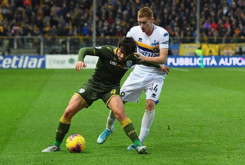 Sandro Tonali of Brescia Calcio competes for the ball.
