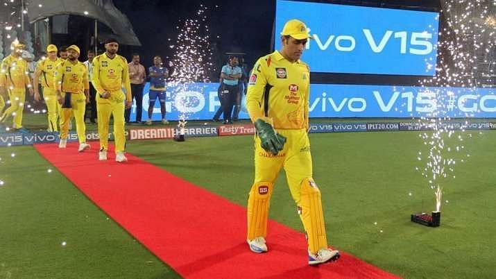 MS Dhoni leading his CSK troops onto the field in an IPL game.