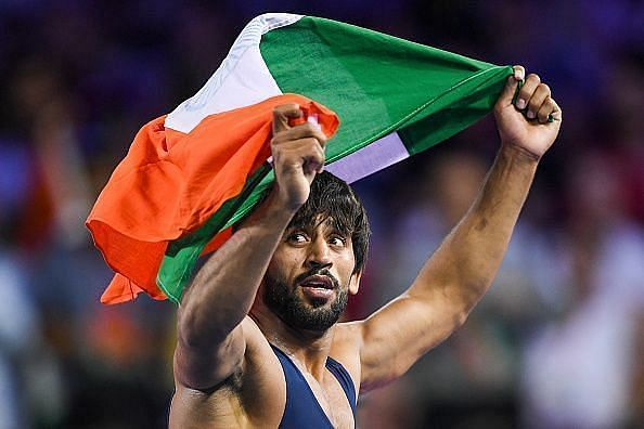 Bajrang Punia grapples in the 65 kg freestyle weight category