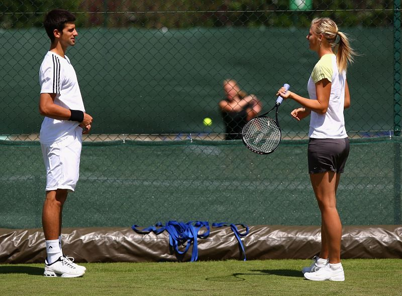 Novak Djokovic with Maria Sharapova