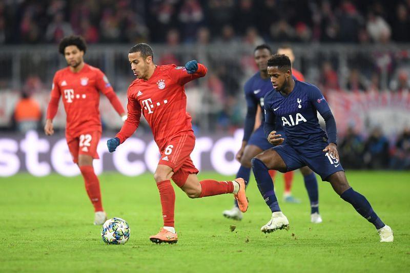 Thiago in action against Tottenham Hotspur in the UEFA Champions League