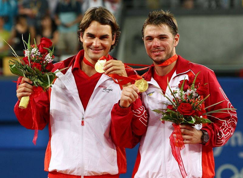 Roger Federer won gold in the doubles event with Stan Wawrinka