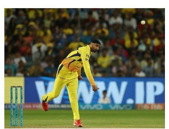 Harbhajan Singh in action for CSK in the IPL