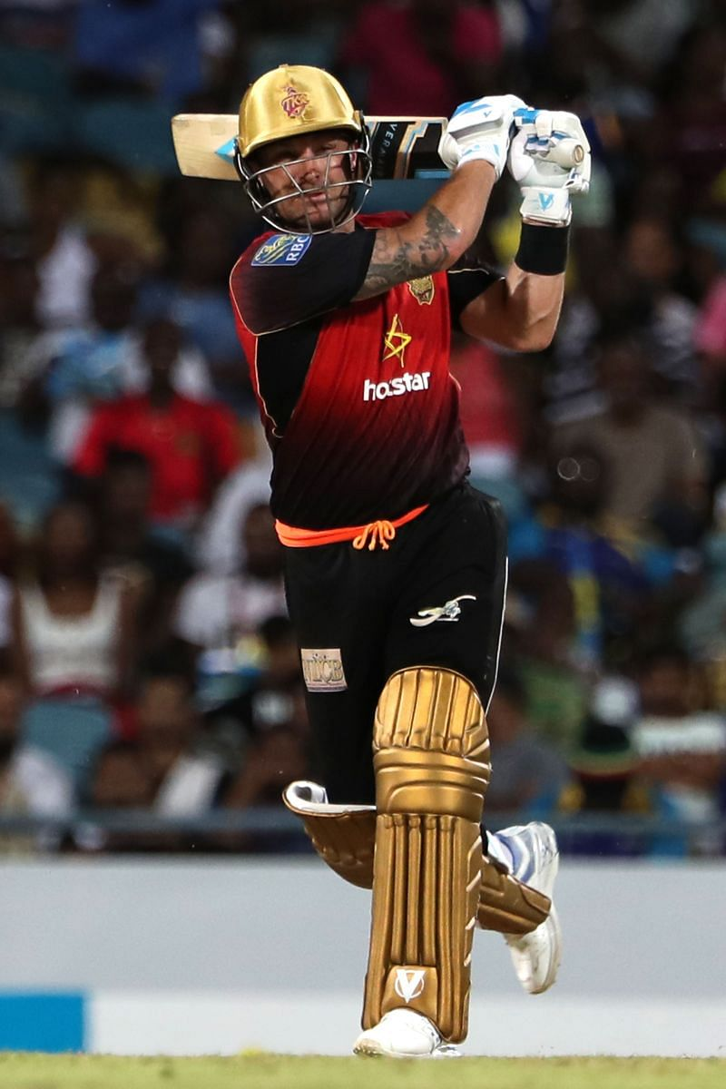 Brendon McCullum hits one during his CPL stint.