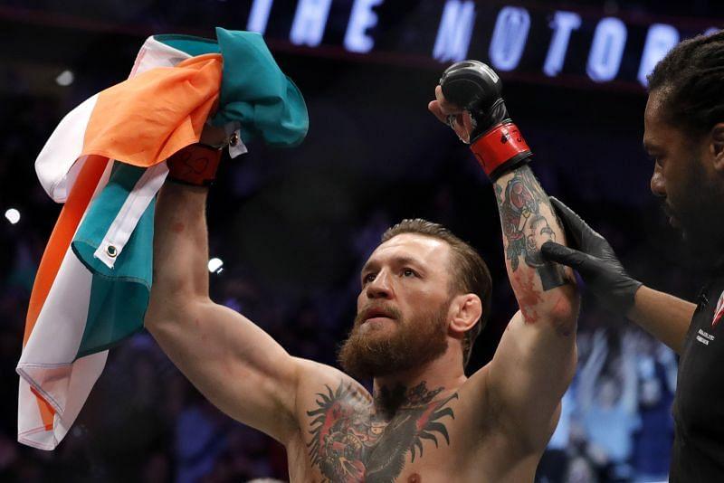 McGregor v Cerrone:UFC 246 . McGregor celebrates his 40 second knockout victory over cowboy