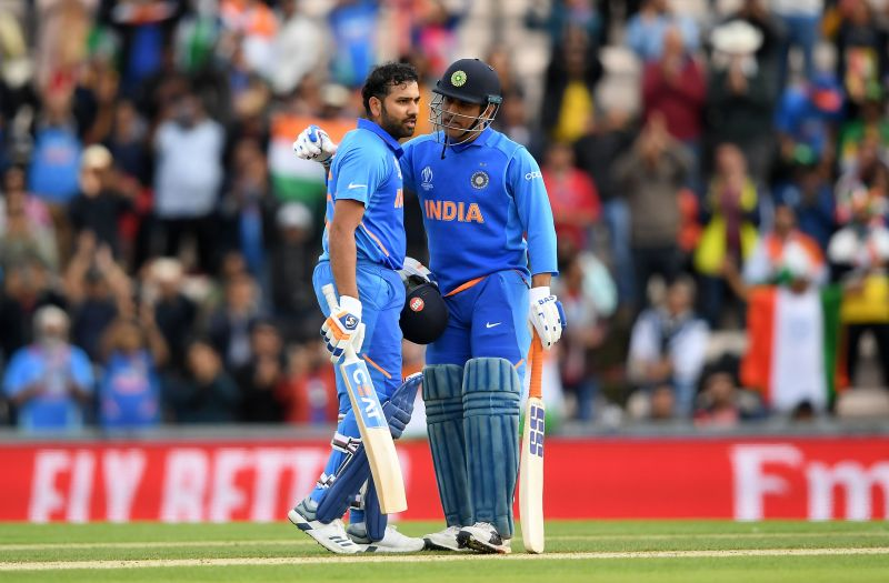 Rohit Sharman and MS Dhoni in action
