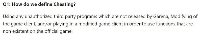 A snippet from the anti-hack FAQ (Picture Courtesy: ff.garena.com)