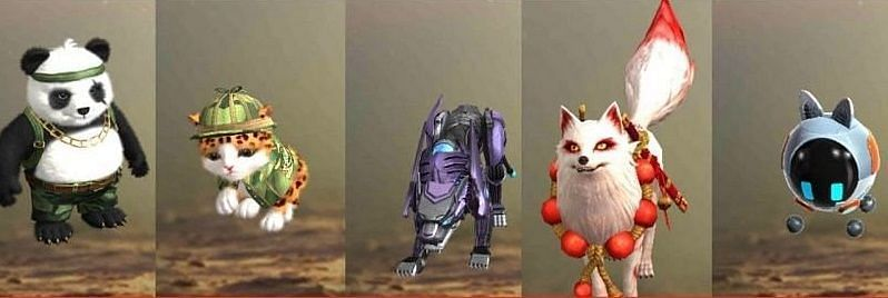 Some of the pets in Free Fire