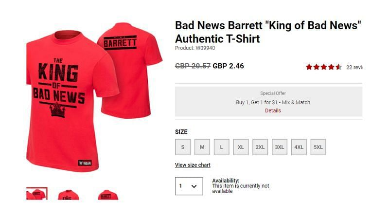 This Wade Barrett shirt is still on WWE Shop but it is not for sale