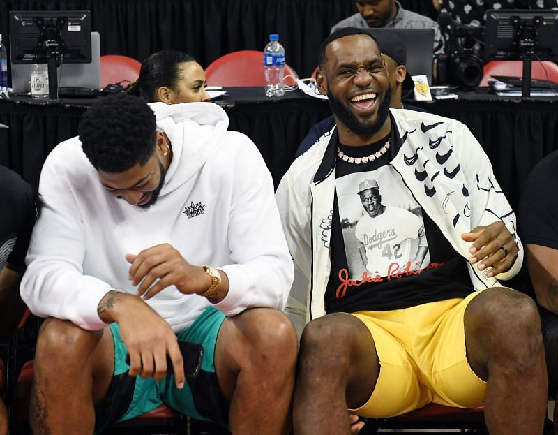 Lebron James and Anthony Davis sharing a light moment