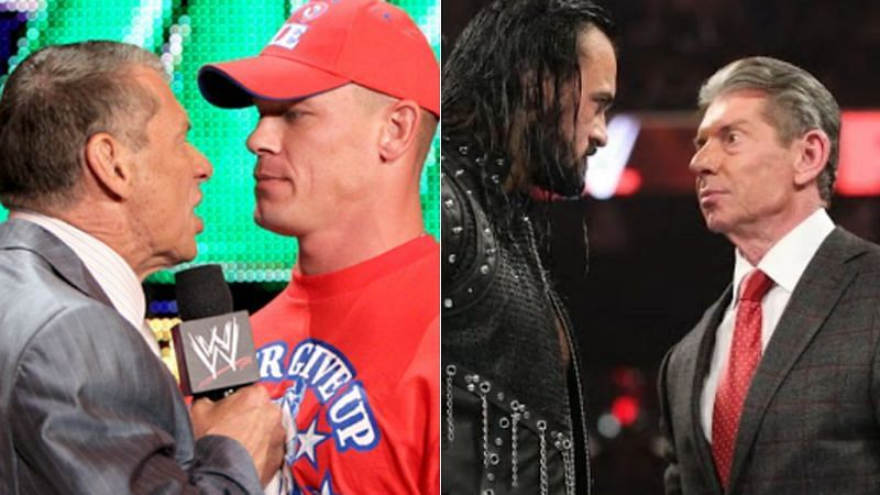 Vince McMahon and John Cena (left); Drew McIntyre and Vince McMahon (right)