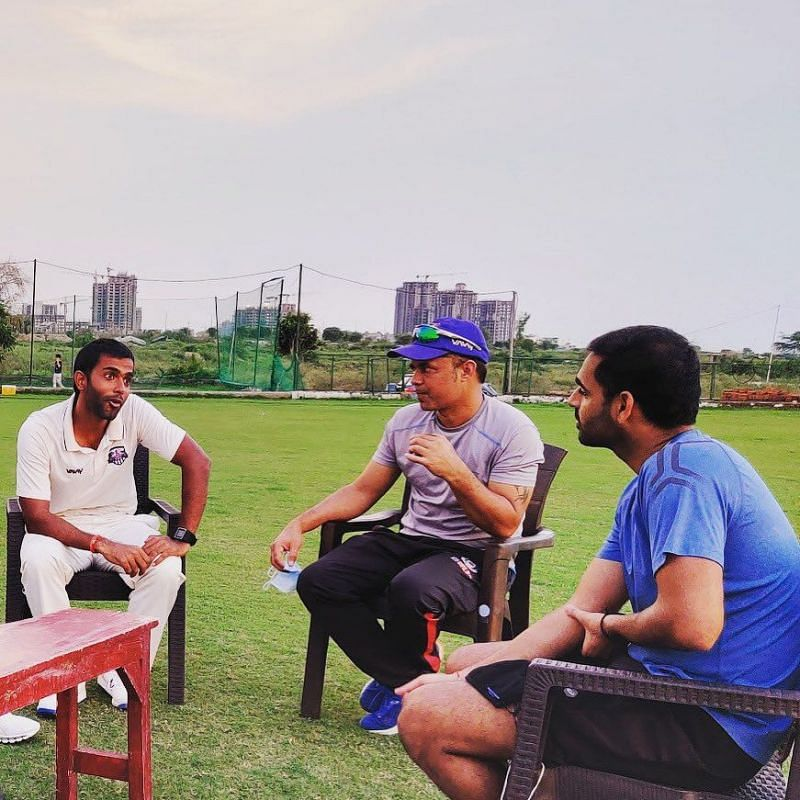 Tanmay Srivastav also got the chance to interact with Bhuvneshwar Kumar (right) recently.