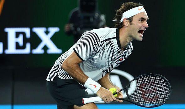 Roger Federer celebrates after ending his Slam drought at 2017 Australian Open