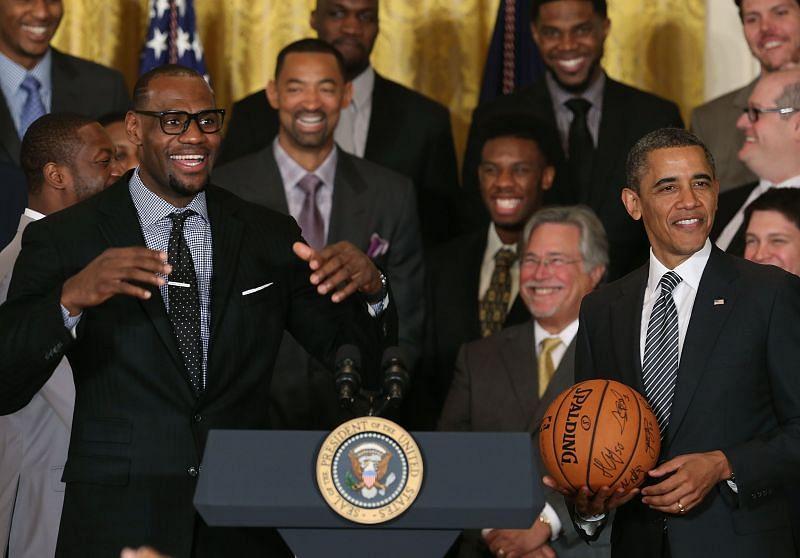 LeBron James with President Barack Obama after winning the NBA Championship