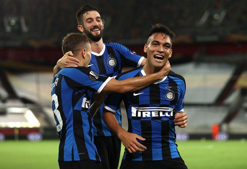 Lautaro Martinez of Inter Milan celebrates with his teammates after scoring