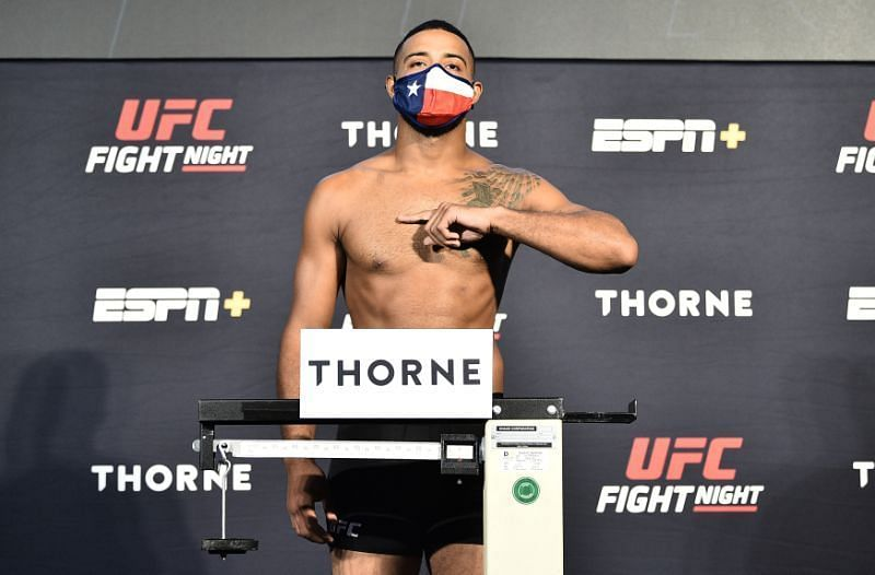 Trevin Gilles on the scale during UFC Fight Night weigh-in at UFC APEX in Las Vegas,Nevada