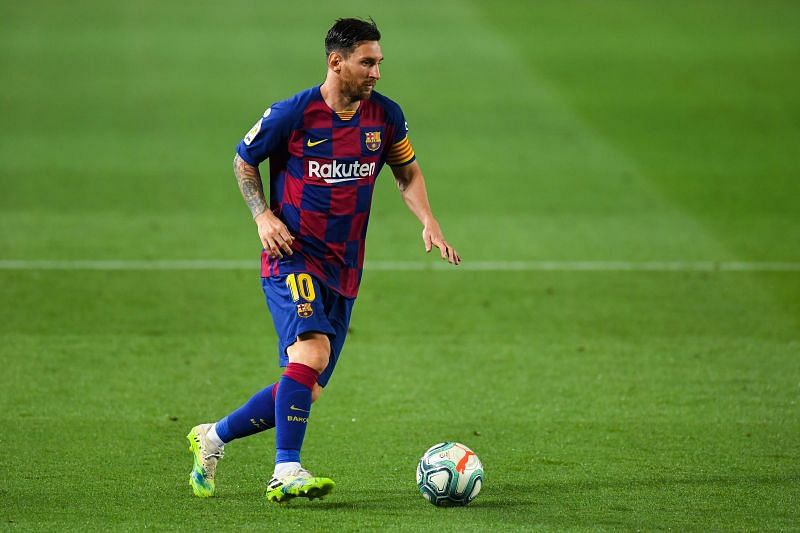 Lionel Messi in action for Barcelona this season