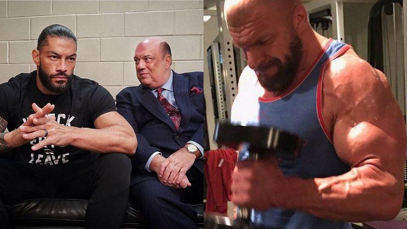 Roman Reigns, Paul Heyman and Triple H.