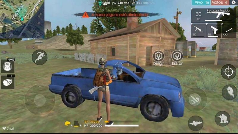 The pickup truck in Garena Free Fire (Image Credits: Robodroid Gameplays/YT)