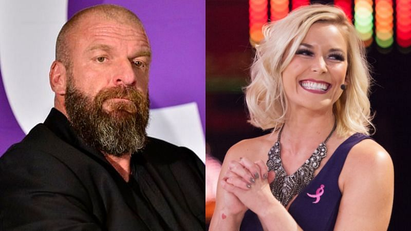 Triple H (left); Renee Young (right)
