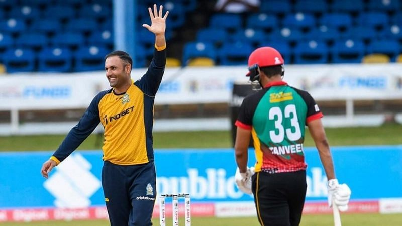 Mohammad Nabi(L) picked up a five-wicket haul against the Patriots in the last CPL match