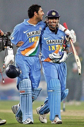 Both Yuvraj Singh and MS Dhoni played key roles as India beat Pakistan in their own backyard. Credits: ESPNcricinfo