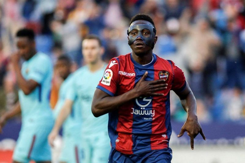 Former Levante forward Emmanuel Boateng will spend this match on the sidelines