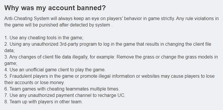 Reasons why an account is banned (Image Credits: tencentgames.helpshift.com)