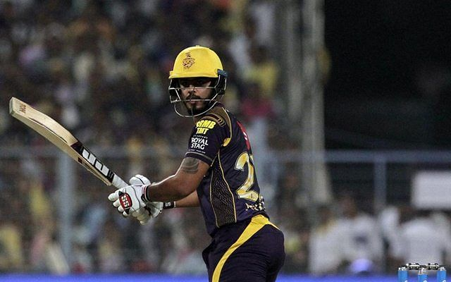 Nitish Rana in action for KKR