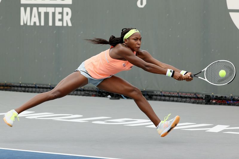 Coco Gauff in action during her first round match at the Top Seed Open