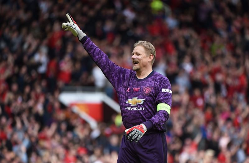 Peter Schmeichel during a Manchester United Legends game