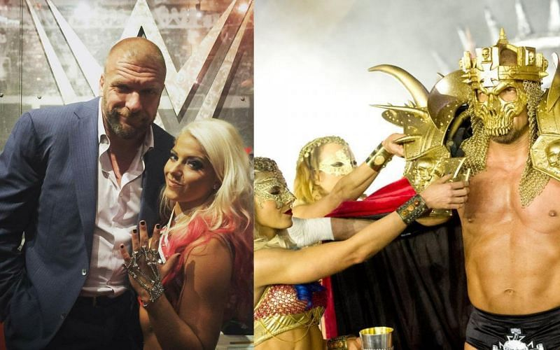 Triple H with Alexa Bliss in WWE; Alexa Bliss helps Triple H during his WrestleMania entrance