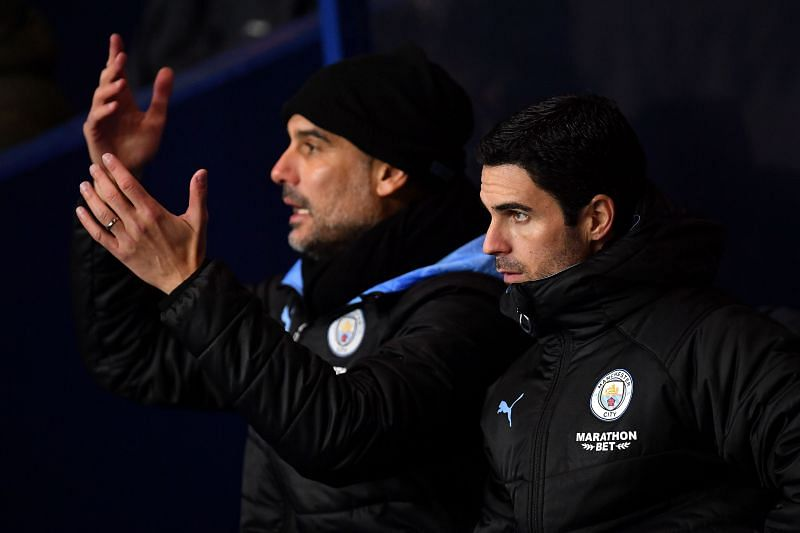 Pep Guardiola and Mikel Arteta have worked closely at Manchester City.