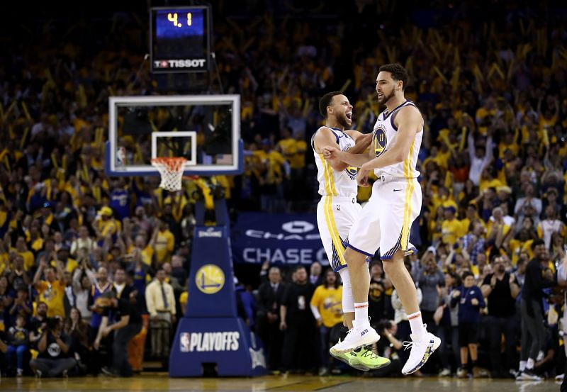 Steph Curry and Klay Thompson in action for the Golden State Warriors