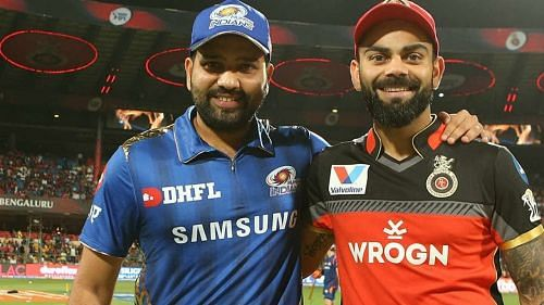 Virat Kohli (right) and Rohit Sharma will lead their teams in Match 10 of IPL 2020